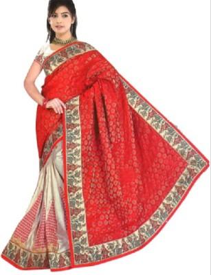 RimiCreations Geometric Print Bollywood Cotton, Chanderi Sari