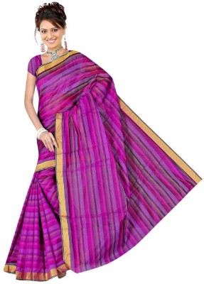 MyDeal Striped Daily Wear Cotton Sari