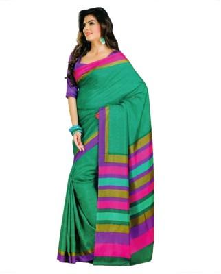 AJS Geometric Print, Checkered, Printed Fashion Art Silk Sari