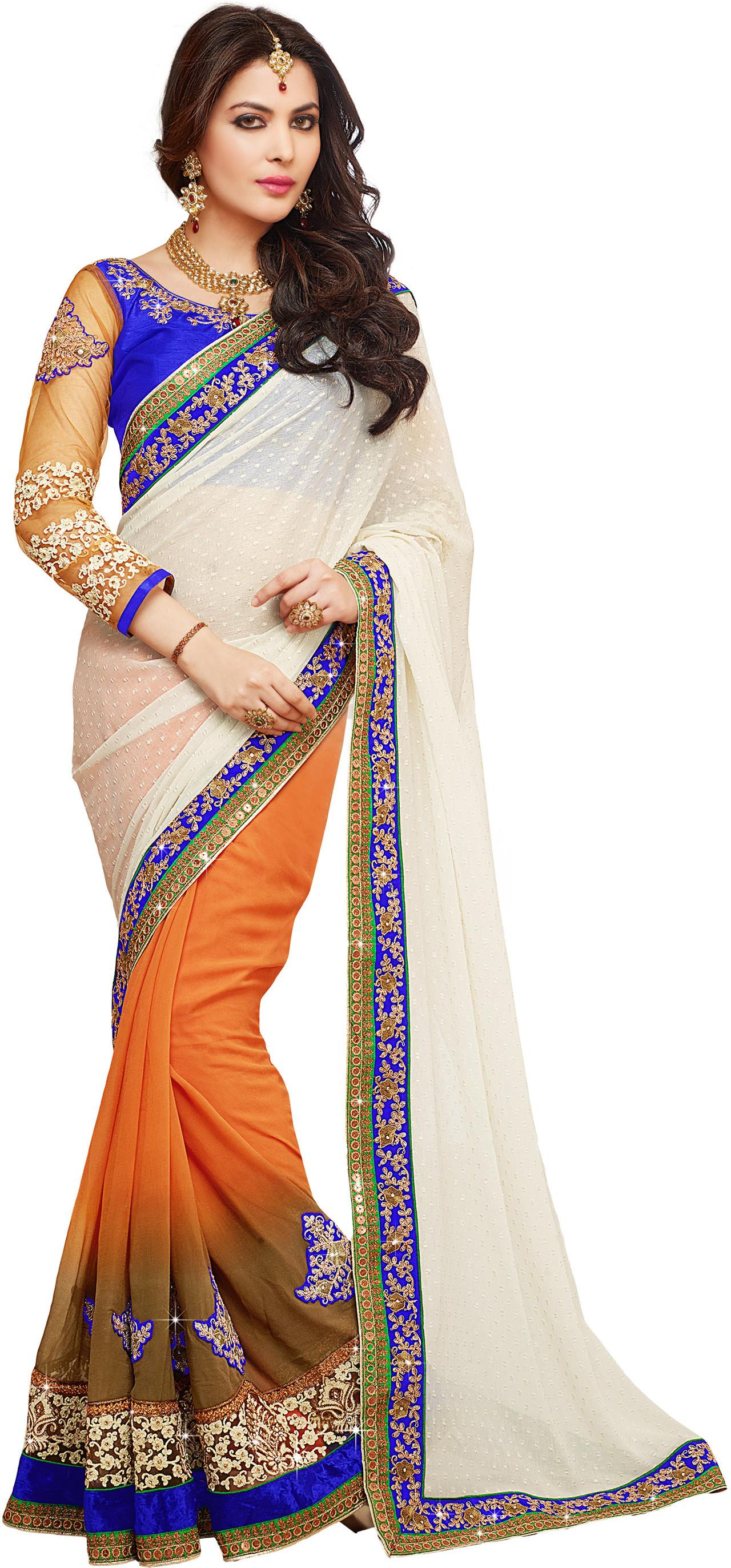 Kvsfab Self Design Fashion Georgette Saree(Multicolor)