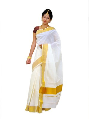 Thirumalai Textiles Plain Balarampuram Handloom Cotton Sari