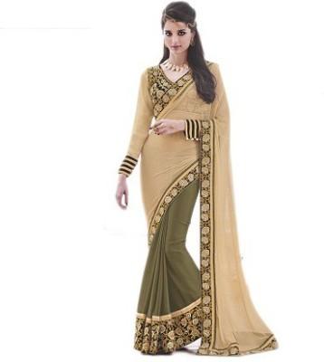 NARGIS FASHION Embriodered Fashion Net, Silk Sari
