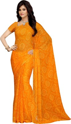Rani Saahiba Printed Bandhej Synthetic Chiffon Saree(Gold) at flipkart