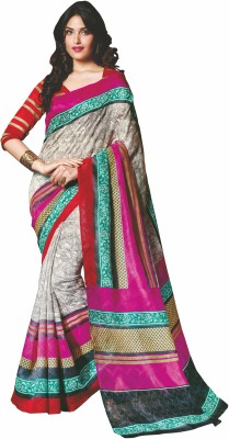 Sunaina Printed Fashion Cotton Linen Blend Saree(Multicolor) at flipkart