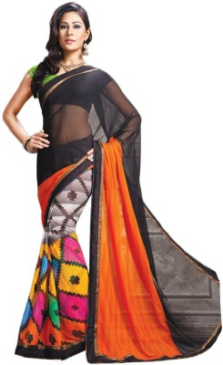 Womantra Geometric Print, Solid Fashion Chiffon Sari