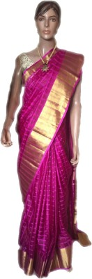 VanshikasCollections Striped Kosa Silk Cotton Blend Sari