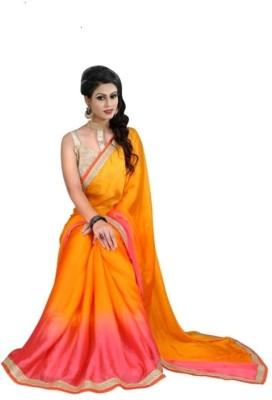 Indian Ethenic Solid Banarasi Chiffon, Satin Sari