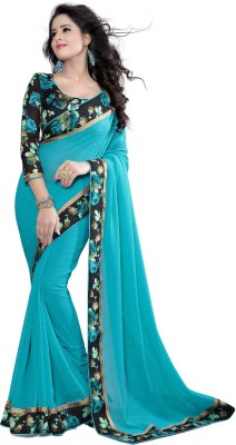 Shreeji Designer Plain Fashion Lace Sari