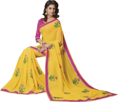 Vishal Prints Embriodered Fashion Synthetic Georgette Sari