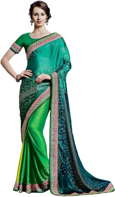 Jinaam Dress Printed, Embriodered Bandhani Georgette Sari