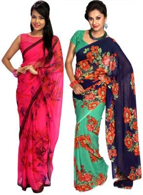 Wishing Wardrobe Printed, Floral Print Daily Wear Georgette Sari
