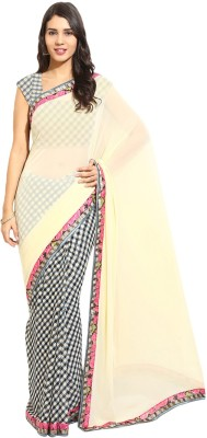 Yehii Checkered Fashion Georgette Sari
