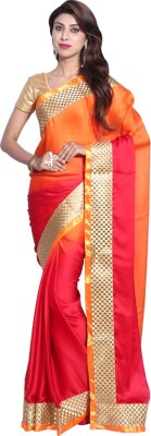 Hanis Solid Fashion Handloom Satin, Chiffon Sari