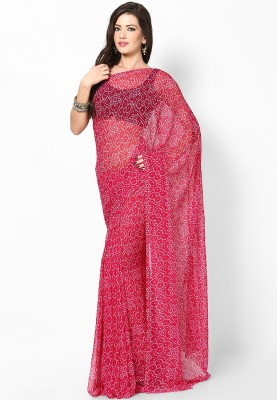 Prateek Retail Printed Bandhej Georgette Sari