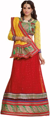 Admyrin Self Design Lehenga Saree Net, Cotton, Brasso Sari available at Flipkart for Rs.3336