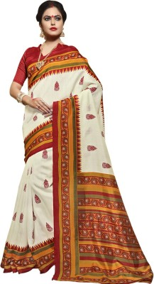 Saara Graphic Print Fashion Raw Silk Saree(Mustard) at flipkart