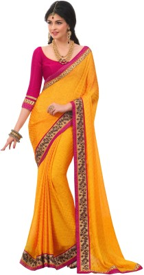 Jambudi Creation Embriodered Fashion Satin, Chiffon Sari