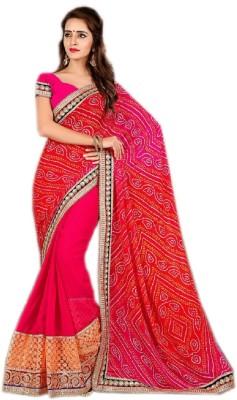 karishma sarees Embriodered Bandhej Chanderi Sari
