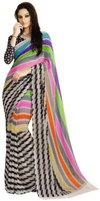 Ganghs Striped Fashion Georgette Sari