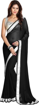 Panash Creations Plain Bollywood Georgette Sari