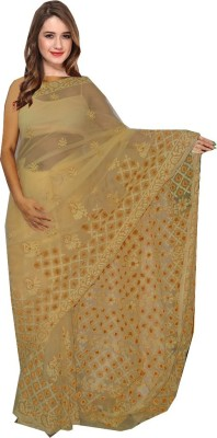 A Quad Embriodered Lucknow Chikankari Georgette Sari