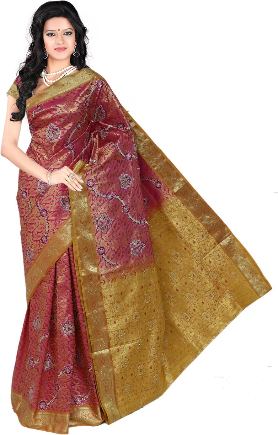 Roopkala Silks Embellished Dharmavaram Brocade Saree(Pink)