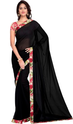 Hitansh Fashion Solid Fashion Georgette Sari