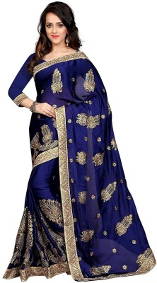 Pragati Fashion Hab Embroidered Bollywood Satin Sari(Blue, Beige)