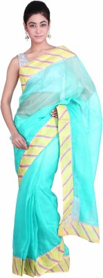 Geroo Embellished Leheria Kota Silk Saree(Blue) at flipkart