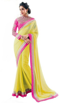 Purple Oyster Solid Bollywood Georgette Sari