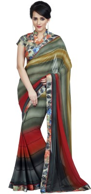 Palav Fabrics Embriodered, Plain, Embellished, Printed, Floral Print Bollywood Georgette Sari