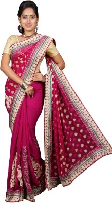 vinaa sarees Embriodered Fashion Synthetic Chiffon Sari