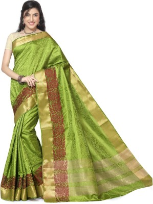 Rani Saahiba Self Design Kanjivaram Jacquard, Art Silk Sari(Green)