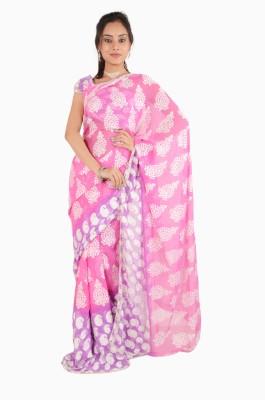 Vasundhara Lifestyle Printed Fashion Chiffon, Brasso Fabric Sari