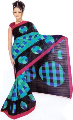 Moon Sarees Checkered, Printed Bhagalpuri Silk Sari