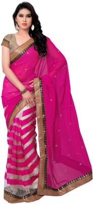 Pushkar Sarees Striped Bollywood Synthetic Georgette Sari