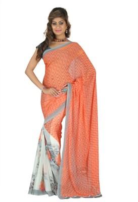 Wholetex Printed Daily Wear Chiffon Sari