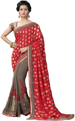 Jasleen Fashion Embellished, Embriodered Fashion Georgette, Jacquard, Lace, Brocade, Art Silk Sari