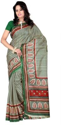 Keya Sarees Floral Print Ikkat Art Silk Sari