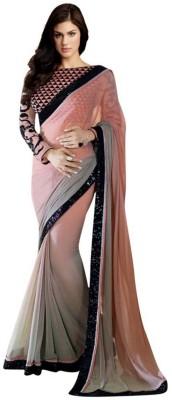 Jbkala Solid Bollywood Chiffon Sari