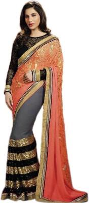 SHS Embroidered Bollywood Georgette Saree(Orange, Grey, Black) at flipkart