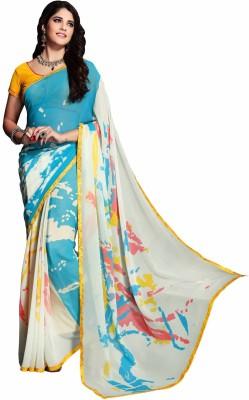 Kvsfab Floral Print Fashion Georgette Sari