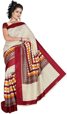 Moon Sarees Striped, Printed Bhagalpuri Silk Sari