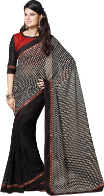 Queenbee Graphic Print, Embriodered, Self Design Fashion Georgette Sari