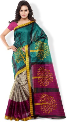 Aashritha Printed Fashion Art Silk Saree(Green) at flipkart
