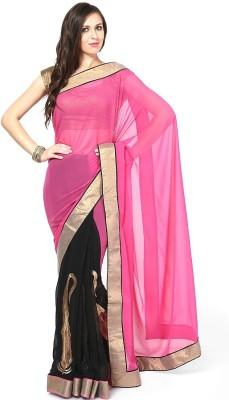 Lime Solid Fashion Handloom Georgette Sari