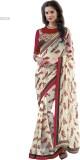 H Raj Solid Fashion Georgette Saree (Red...