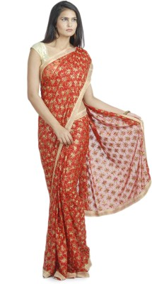 Ethnic Bliss Lifestyles Self Design Phulkari Handloom Chiffon Sari