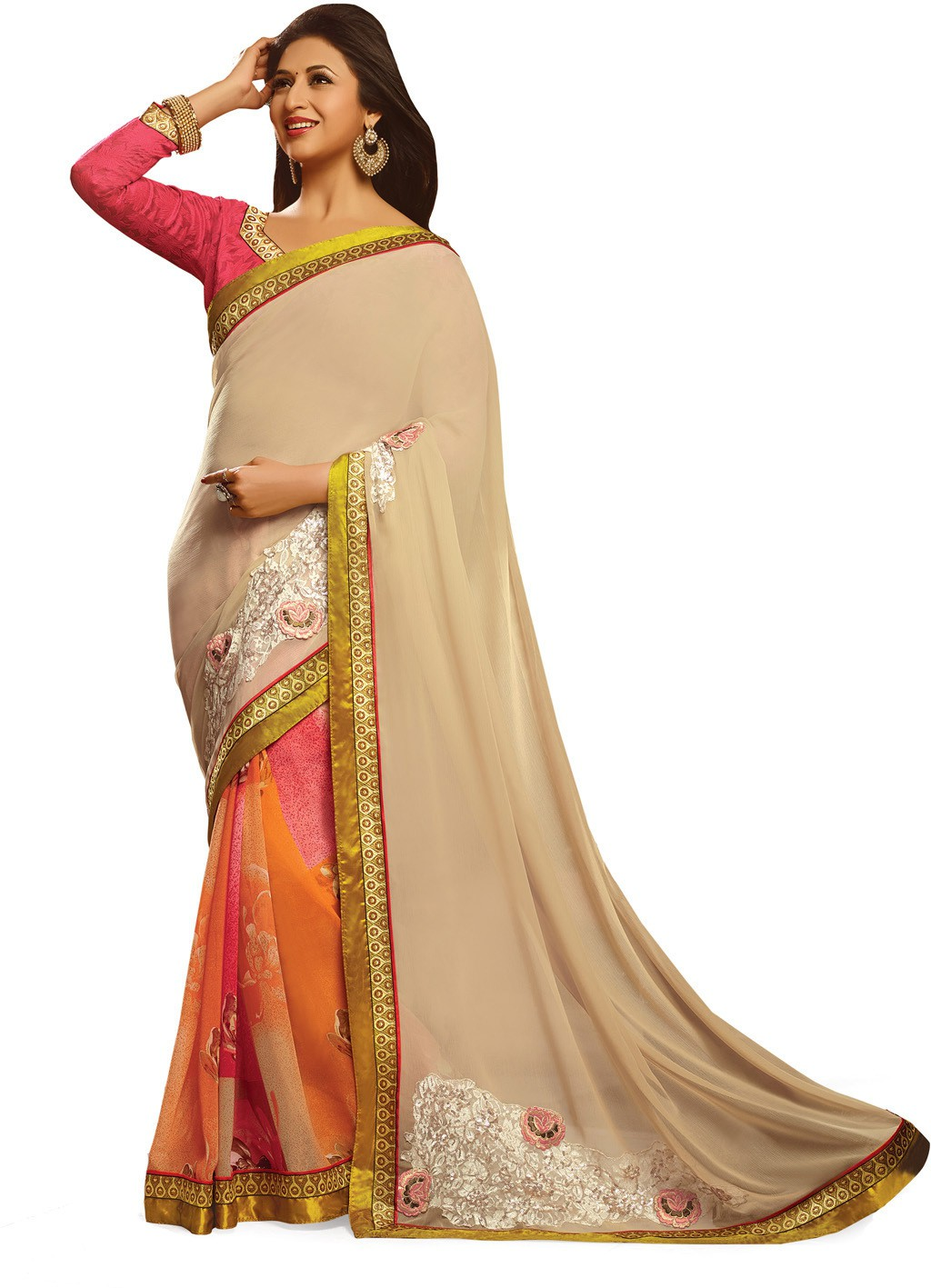 Indianbeauty Self Design, Embroidered Bollywood Pure Georgette Saree(Beige, Orange)