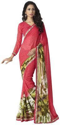 Drapme Floral Print, Printed Fashion Georgette Sari